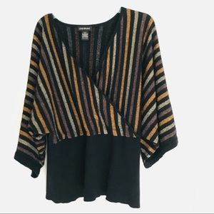 Lane Bryant dolman sleeve black /metallic sweater